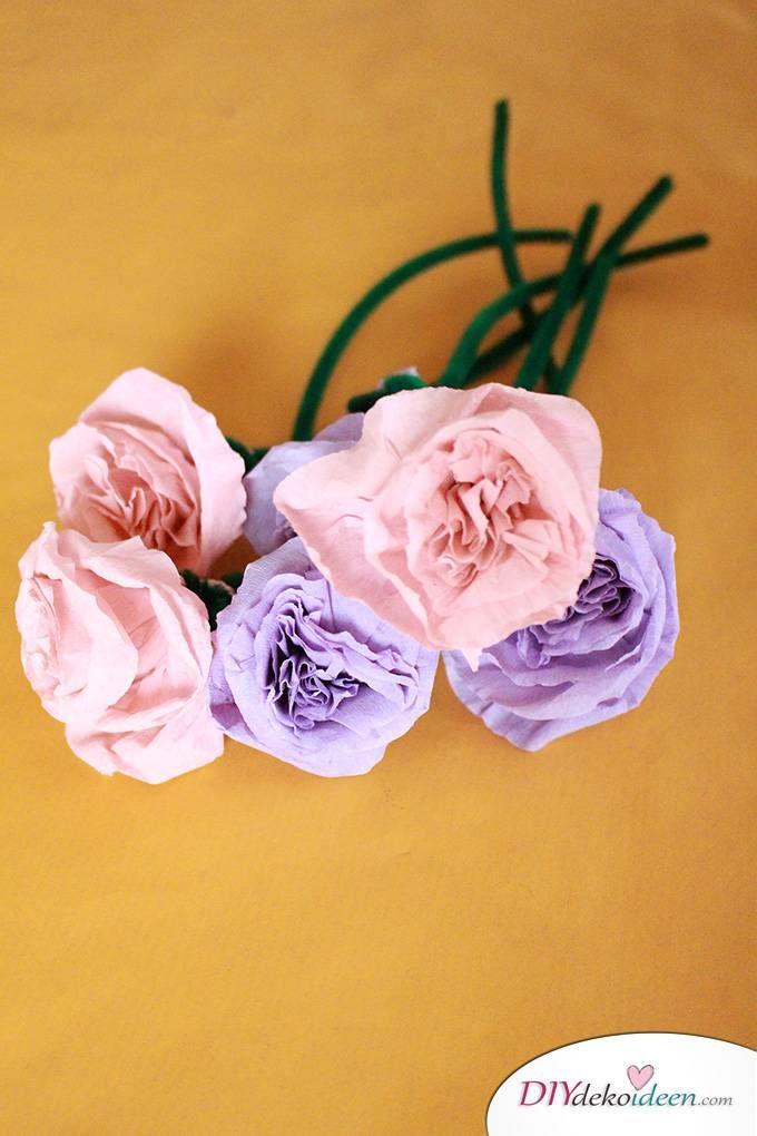 Spielerisch Rosen basteln mit Krepppapier u2013 DIY Bastelideen für Kinder - blumen basteln