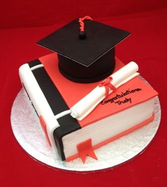 Graduation Book Cake Book Mortar Board Scroll With Images
