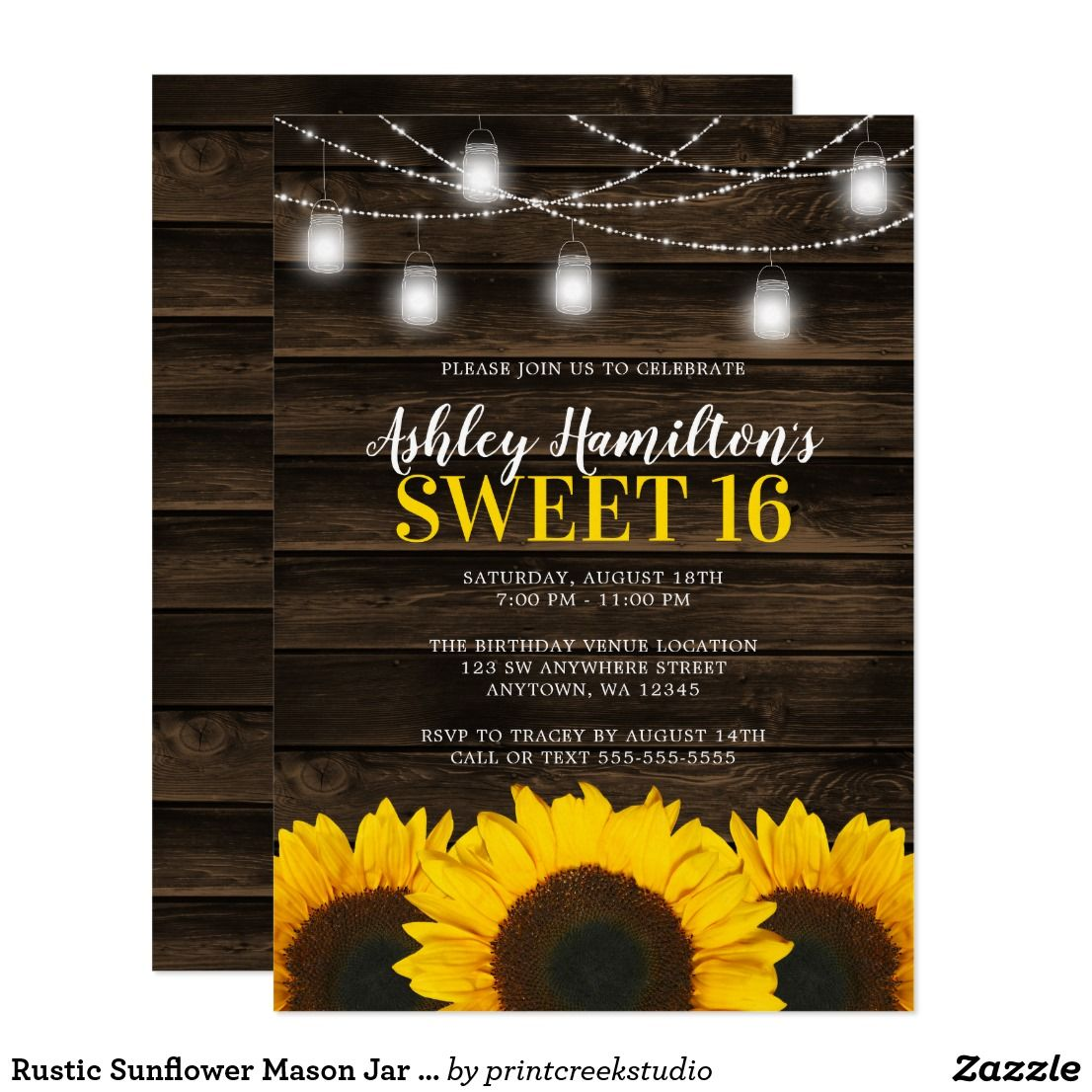 Rustic Sunflower Mason Jar Lights Sweet 16 Invitation | Zazzle.com #sweetsixteen