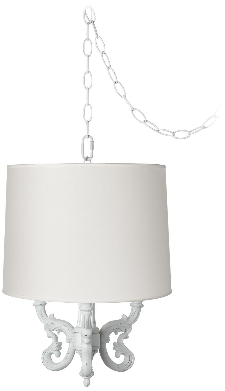 Roco white shade 14 wide mini swag chandelier lighting roco white shade 14 wide mini swag chandelier aloadofball Images