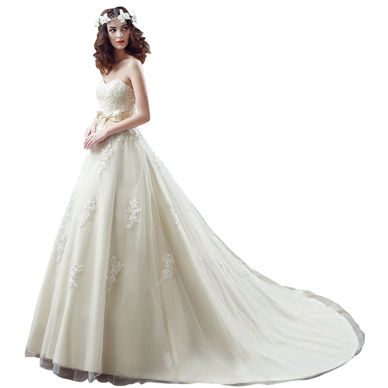 Sipei womens wedding dresses embroidery bowknot court ball gown