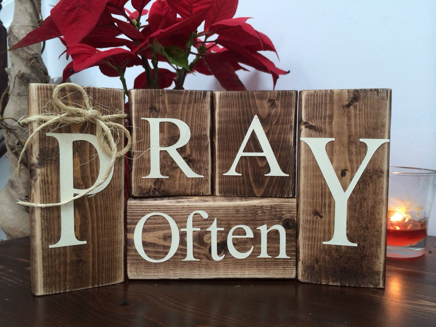 Pray often wood blocks home decor inspirational rustic Cool christmas house decorations