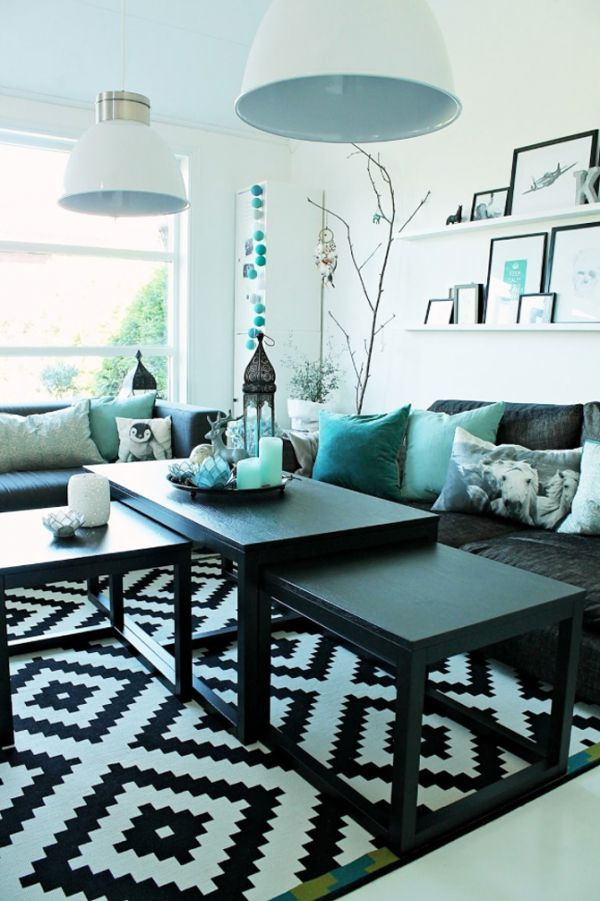 Amazing living room accented with turquoise Love this