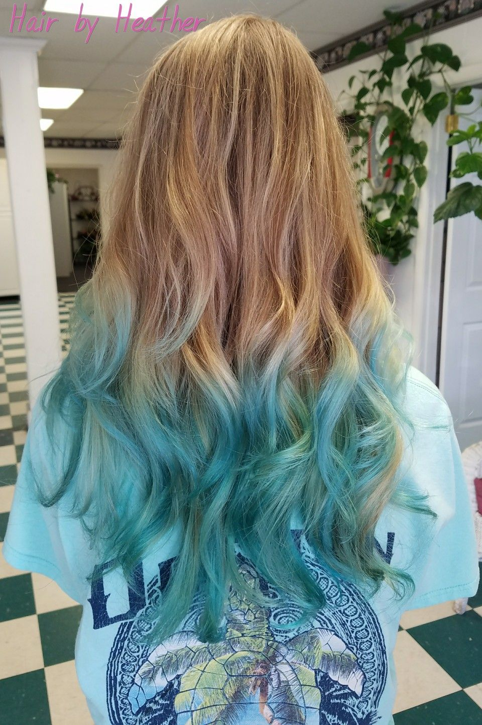 Teal Mermaid Hair Ombre Ombre Hair Blonde Colored Hair Tips