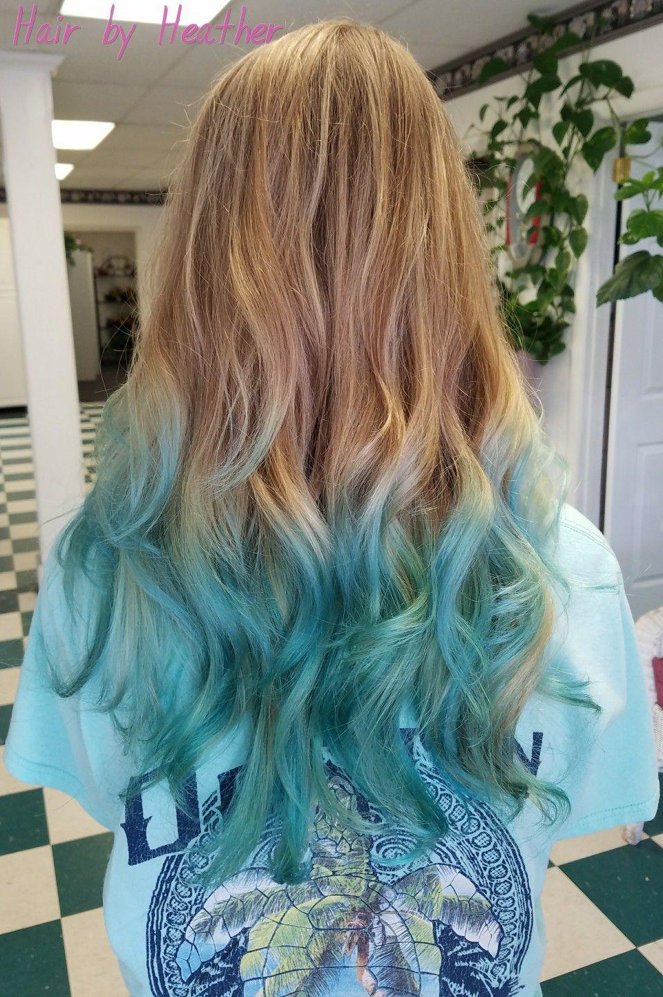 Teal Mermaid Hair Ombre Hair Dye Tips Ombre Hair Blonde Colored Hair Tips