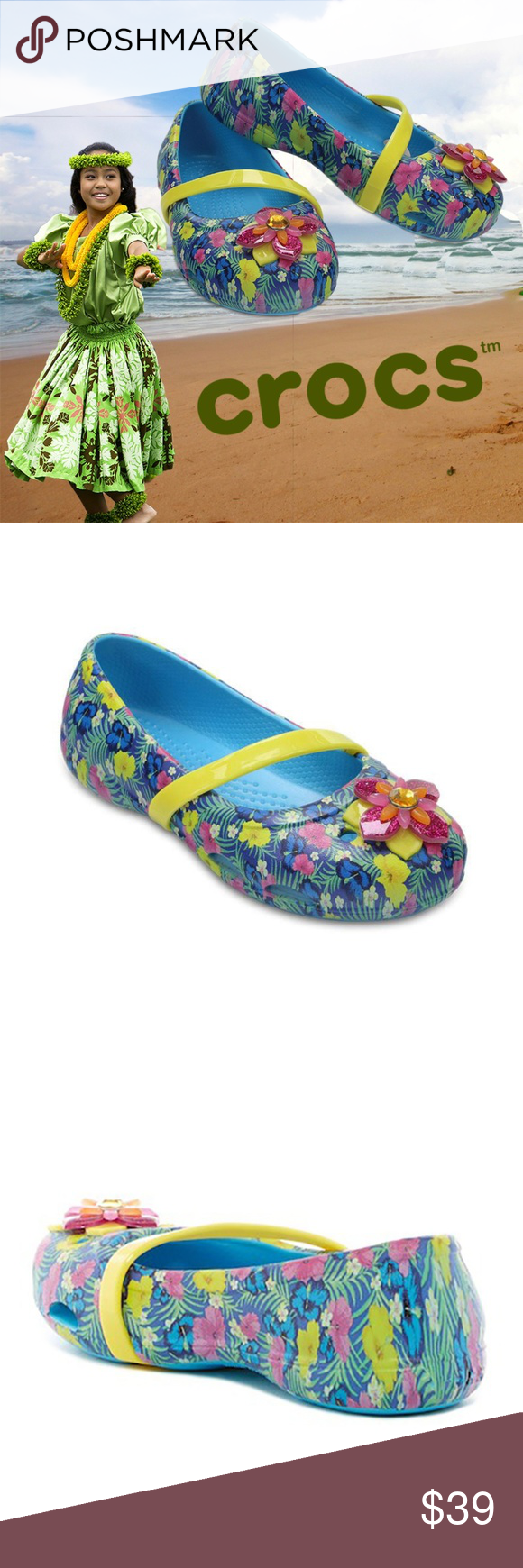 6b4322389daf Crocs Girls Lina Graphic Flat Shoes Slip-on ✓Shower her feet with gems in