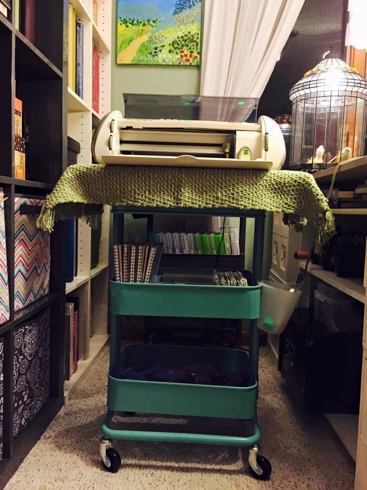 Raskog Cart Used As A Cricut Table And Storage Office