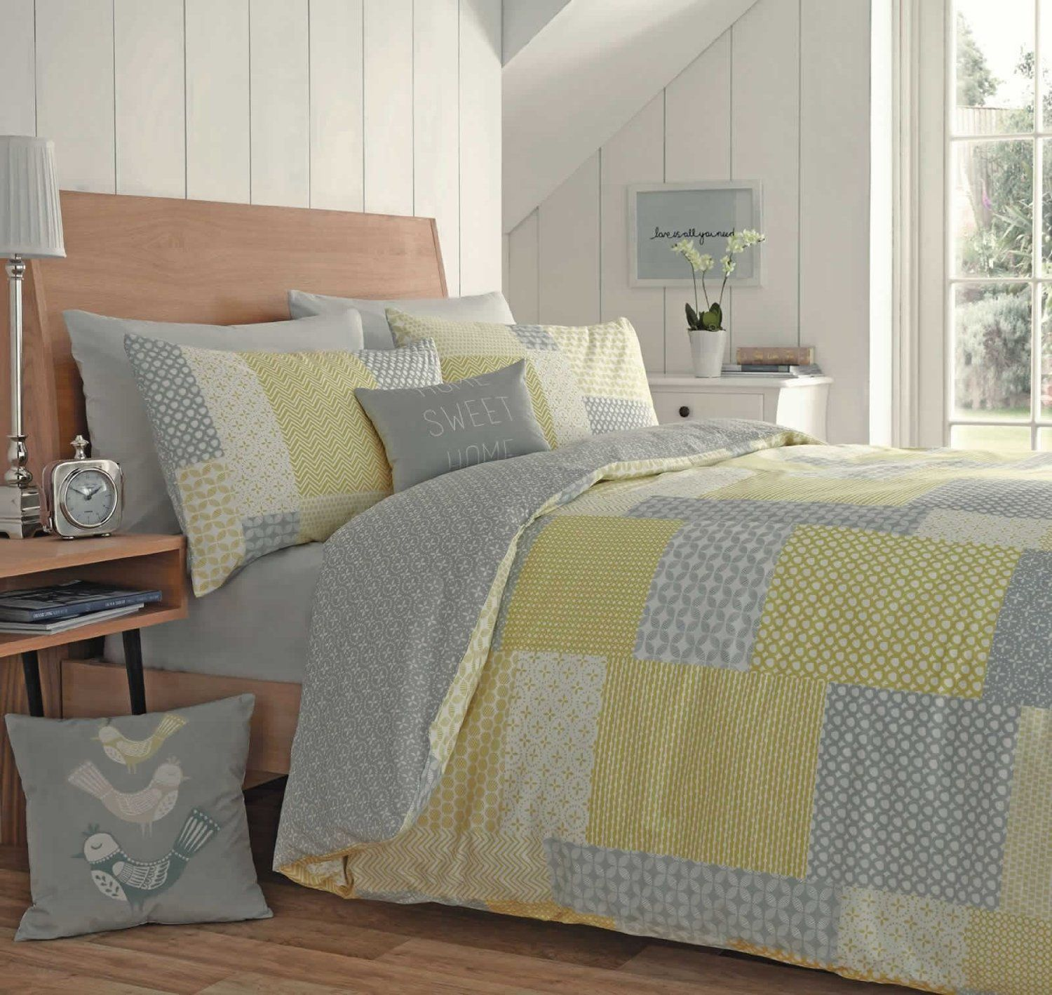 Appletree® Yellow Grey Duvet Cover Patchwork Reversible