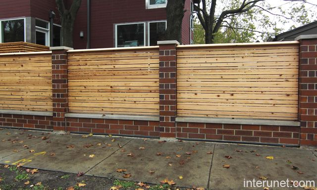 Stylish Wood Fence With Brick Columns Picture Interunet Brick Fence Fence Design Wood Fence