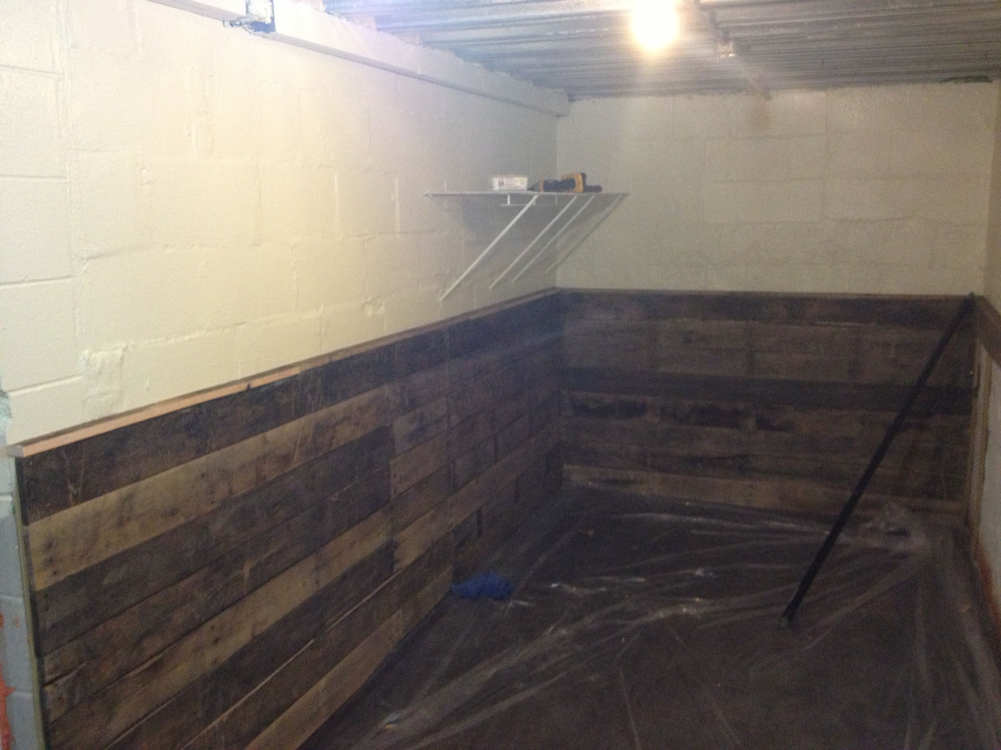 Pallet Wainscoting In A Section Of The Basement