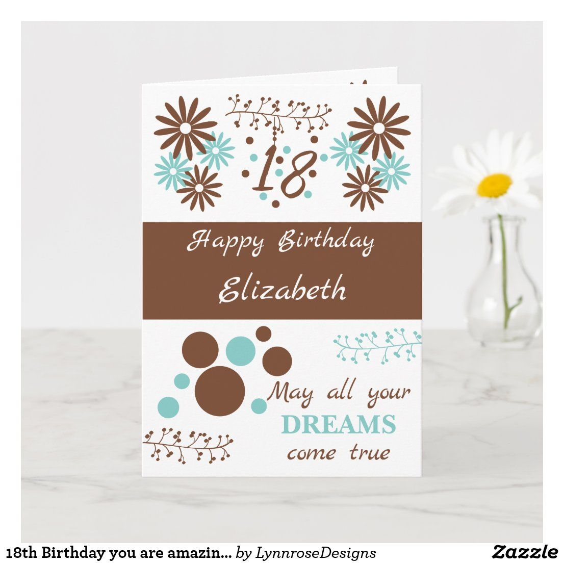 18th birthday you are amazing brown and mint card zazzle