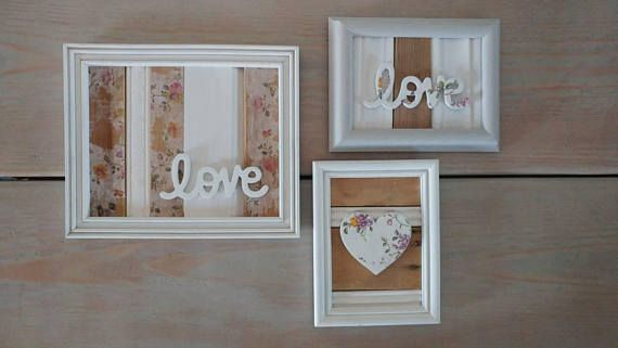Set of 3 Reclaimed Wood Floral Decoupaged Picture Frame Pallet | My ...