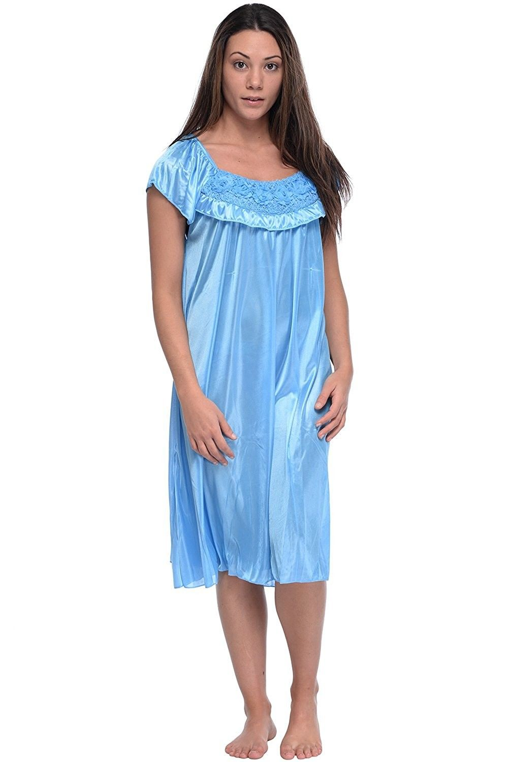 496635f7e5 Buy Women's Cap Sleeve Flower Silky Tricot Nightgown - Blue - CR12CMS4A13  and Others Best Selling Women's Sleepshirts with Affordable Prices