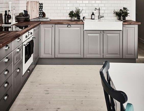 Best Lower Cabinets Platinum Grey With Dark Wood Countertop 400 x 300