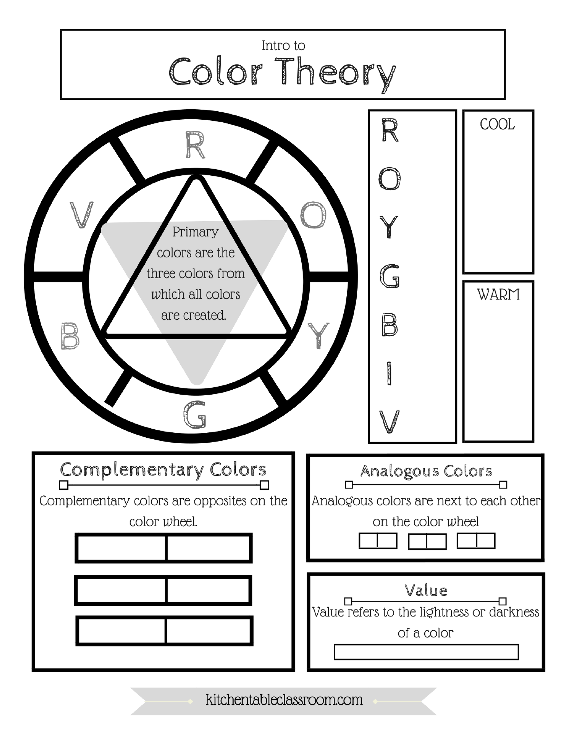 Free Color Wheel (& Color Theory) Printable | Pinterest