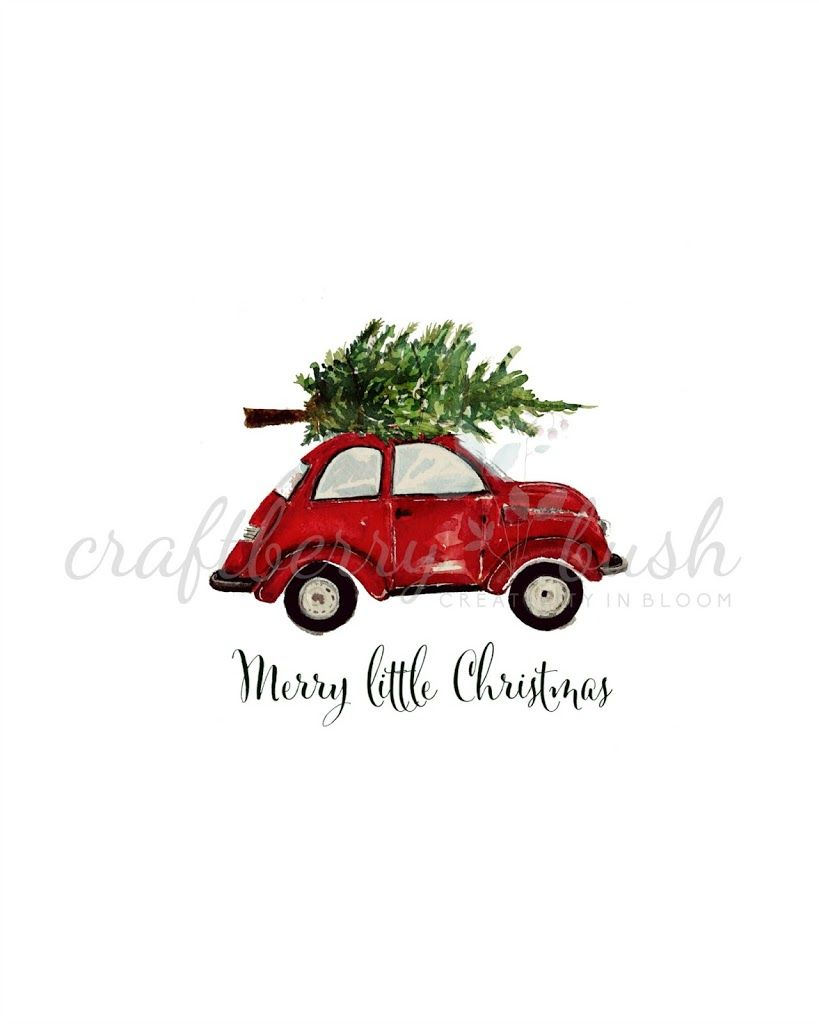 This Adorable Red Car With Tree Tied To The Top Free Printable Is  - Christmas Tree On Car
