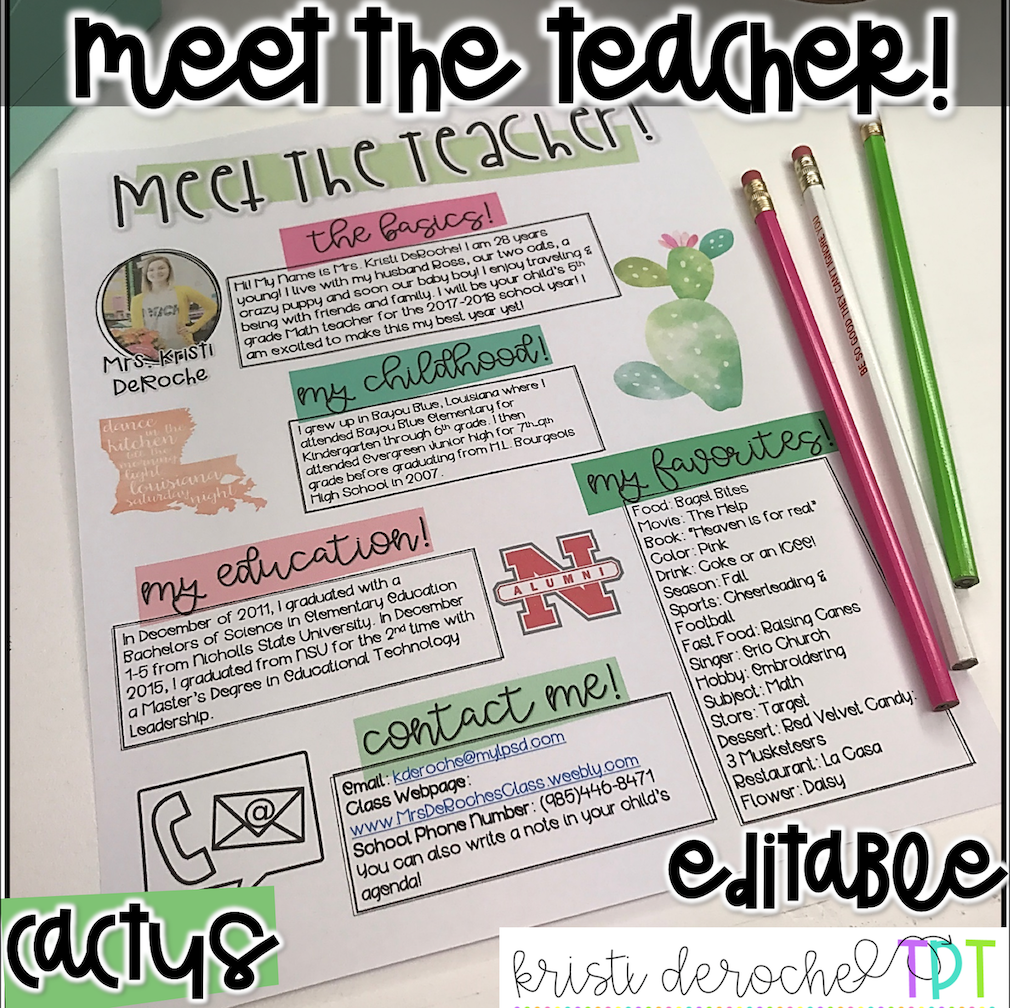 Meet the Teacher Newsletter - EDITABLE - Cactus #meettheteacherideas