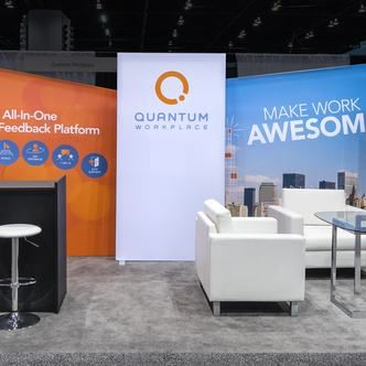 Trade Show Booth Graphics : Example of seating pods in quantum workplace trade