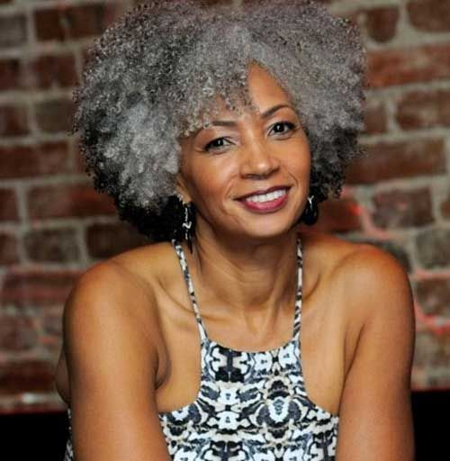 Curly Hairstyle For Older Black Women With Grey Hair Short Natural Hair Styles Natural Gray Hair Short Hair Styles