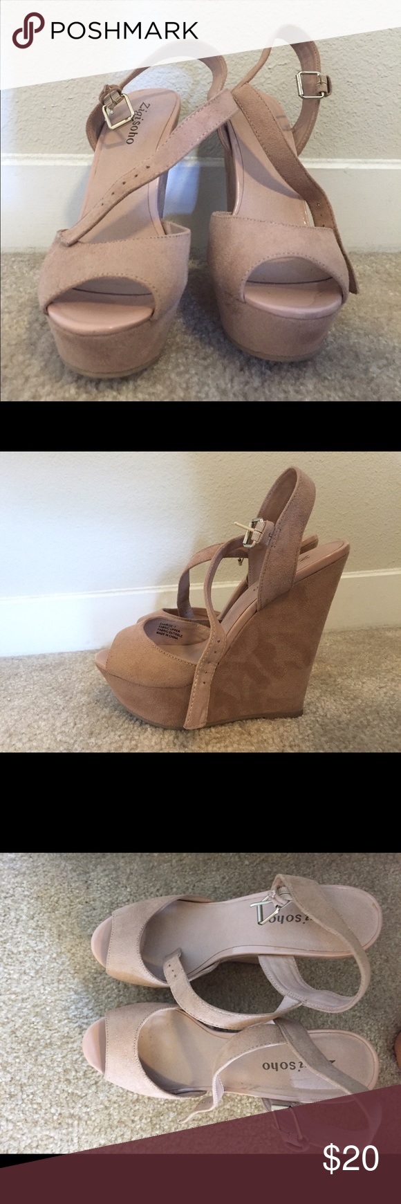 Nude wedges Worn only once as a bridesmaid. Ladies these shoes were great for wearing all throughout the ceremony and dancing all night long! Very comfortable! Shoes Wedges
