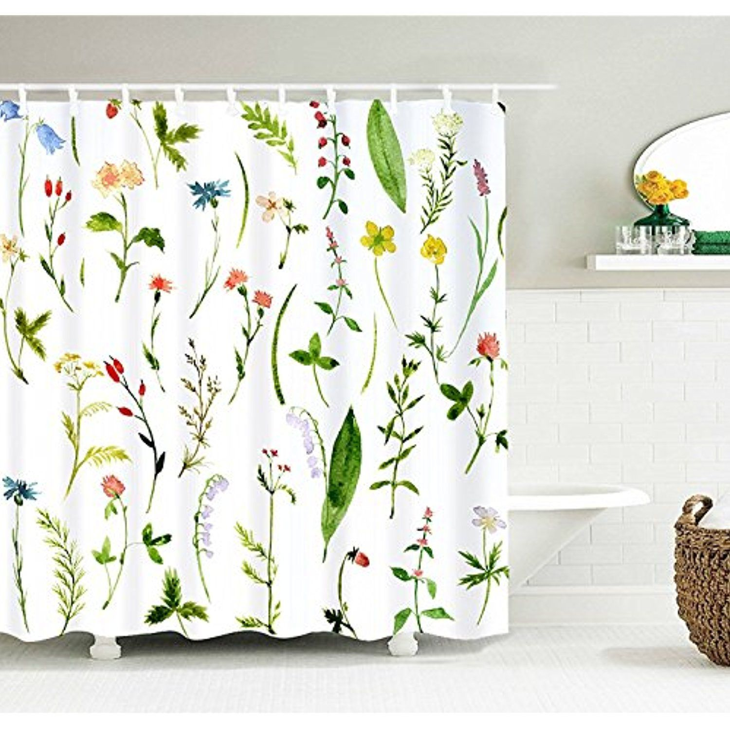 Bathroom Decor Shower Curtain with Hooks Polyester Cloth Fabric by Ambesonne
