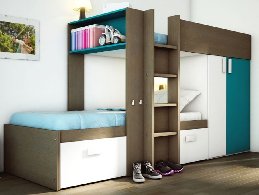 lits superpos s julien 2x90x190cm armoire int gr e taupe et bleu prix promo vente unique 449. Black Bedroom Furniture Sets. Home Design Ideas