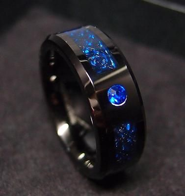 8mm Tungsten Carbide Ring Black Celtic Dragon Blue Diamond Fiber Men jewelry TR4