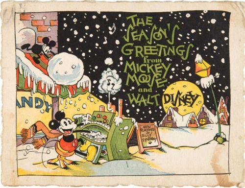 Walt Disney Studios Very First Christmas Card 1930 Artist Floyd Gottfredson Disney Christmas Cards Disney Christmas Disney Cards