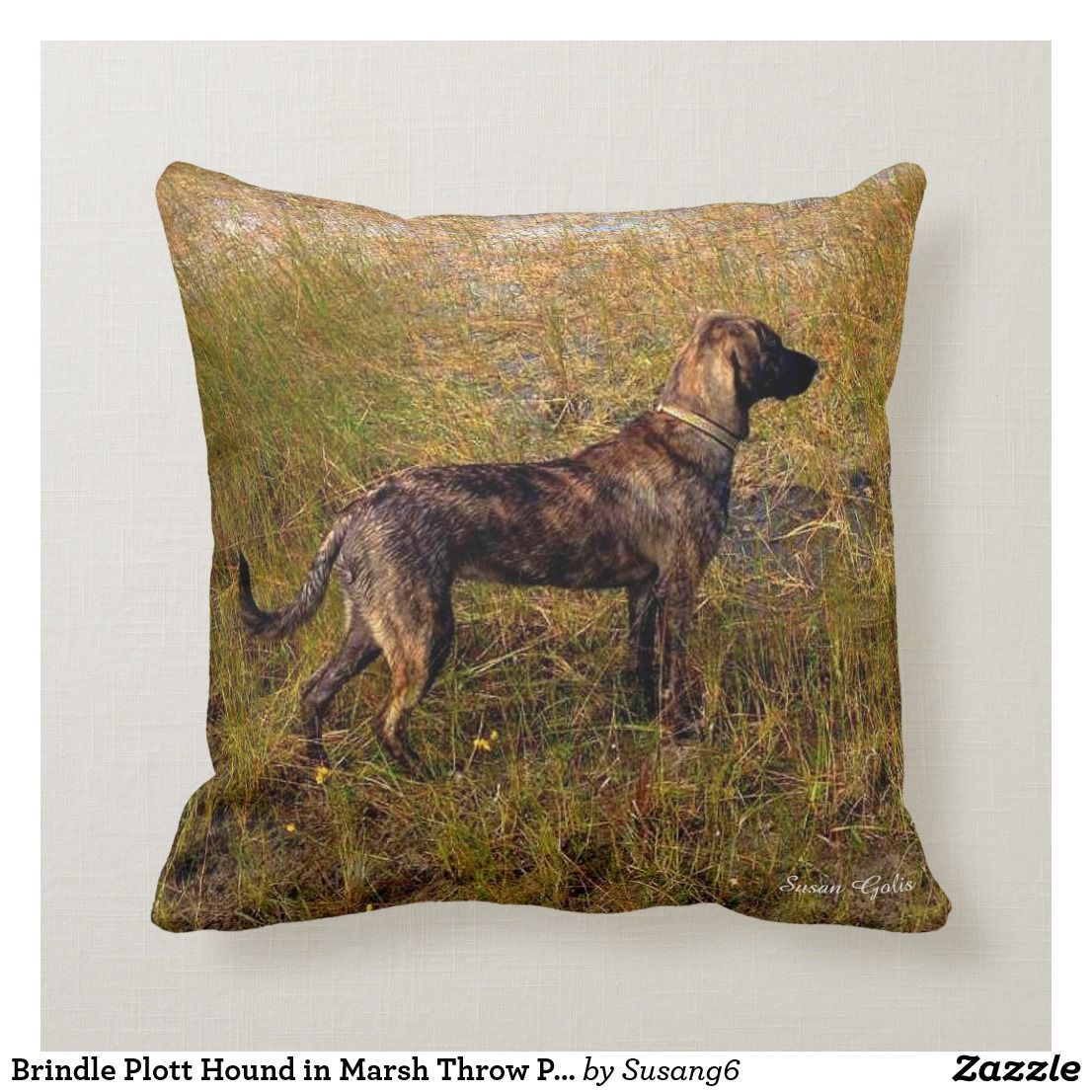 Brindle Plott Hound in Marsh Throw Pillow | Zazzle.com #plotthound