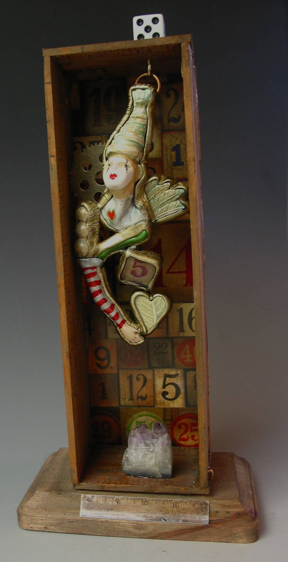 Assemblage Circus Liar mixed media shadow box by SusanSorrentino, $250.00
