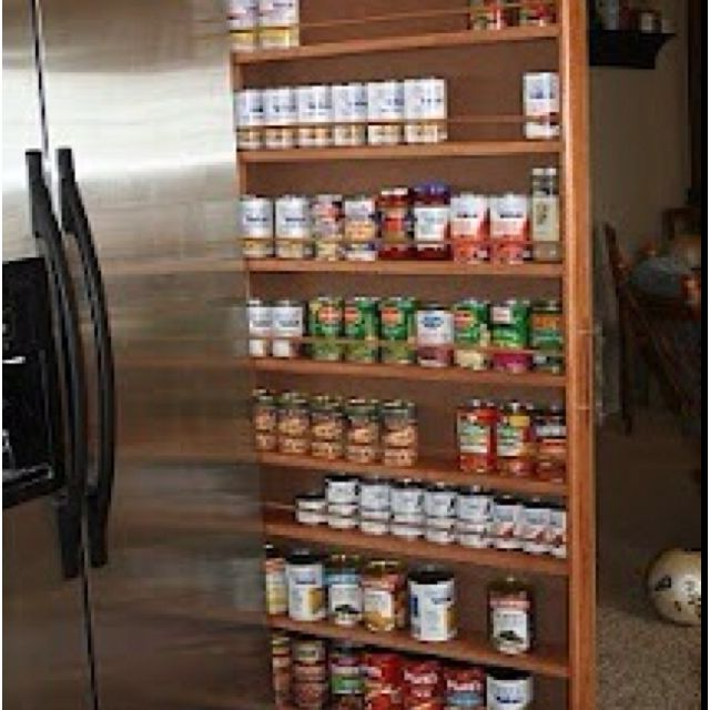 Slide Out Spice Rack Between The Fridge And Wall.