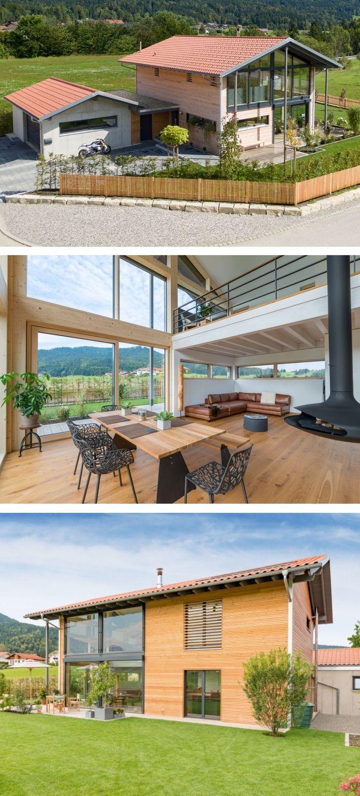 Einfamilienhaus Neubau modern mit Garage, Holzfassade