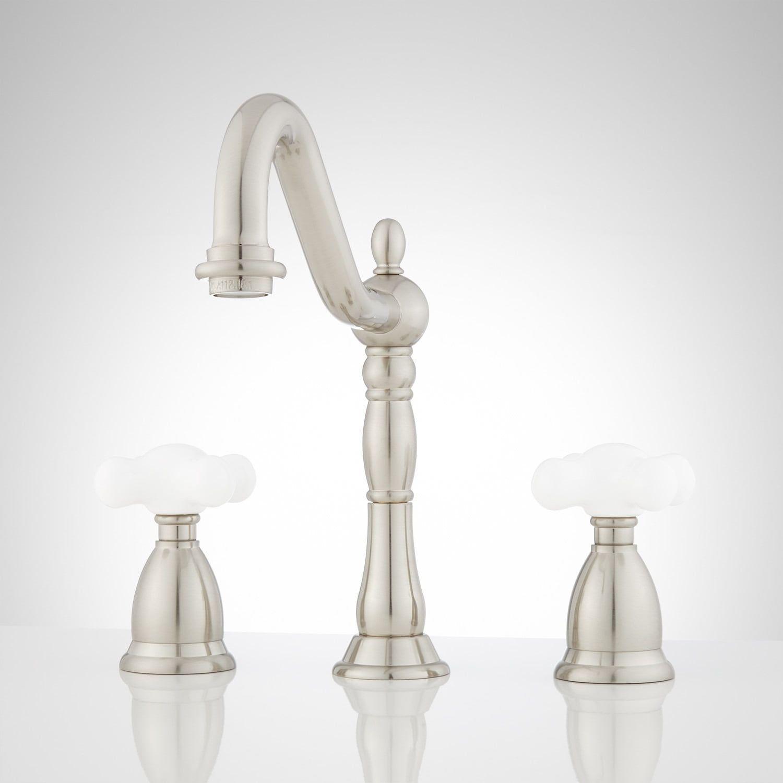 Victorian Widespread Bathroom Faucet Porcelain Cross Handles Bathroom Faucets Faucet Widespread Bathroom Faucet [ 1500 x 1500 Pixel ]