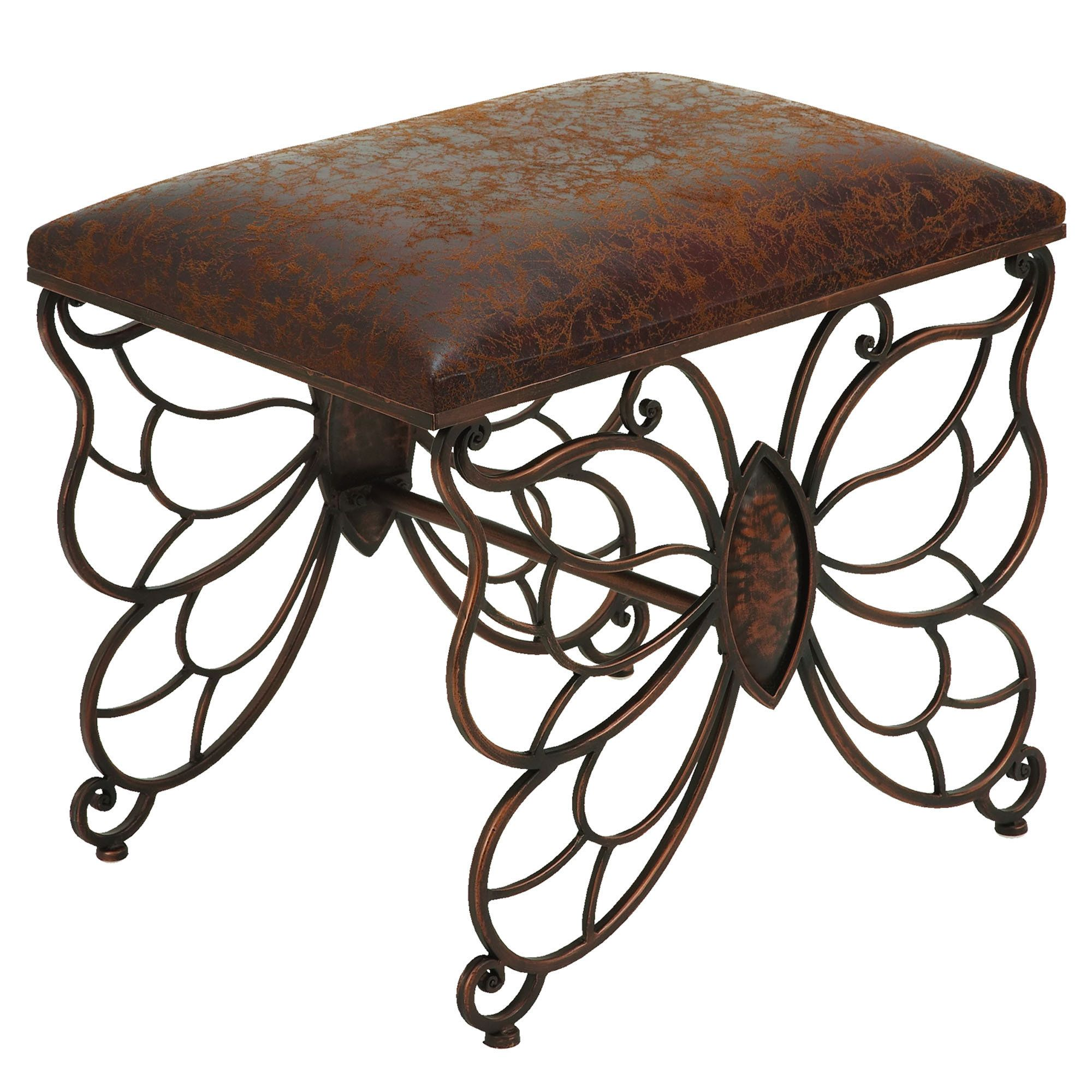 Flights Of Fancy Butterfly Upholstered Accent Stool Metal Stool Leather Stool Upholstered Accent Stool