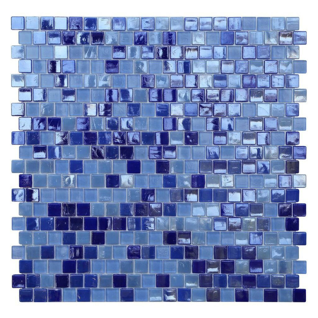 Opal Blue Glass Mosaic Tile (Pack of 10) (Odyssey Offset Square ...