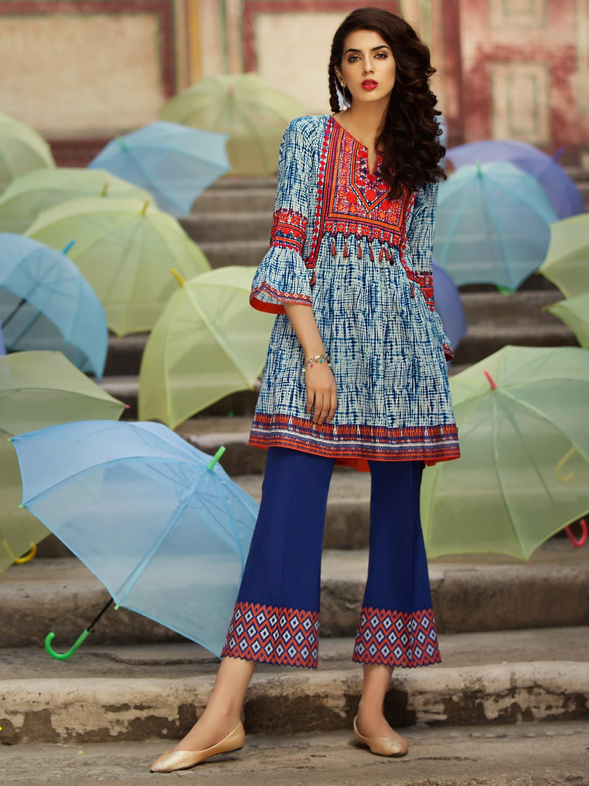 Beautiful embroidered blue piece dress pakistani eid dress in uk