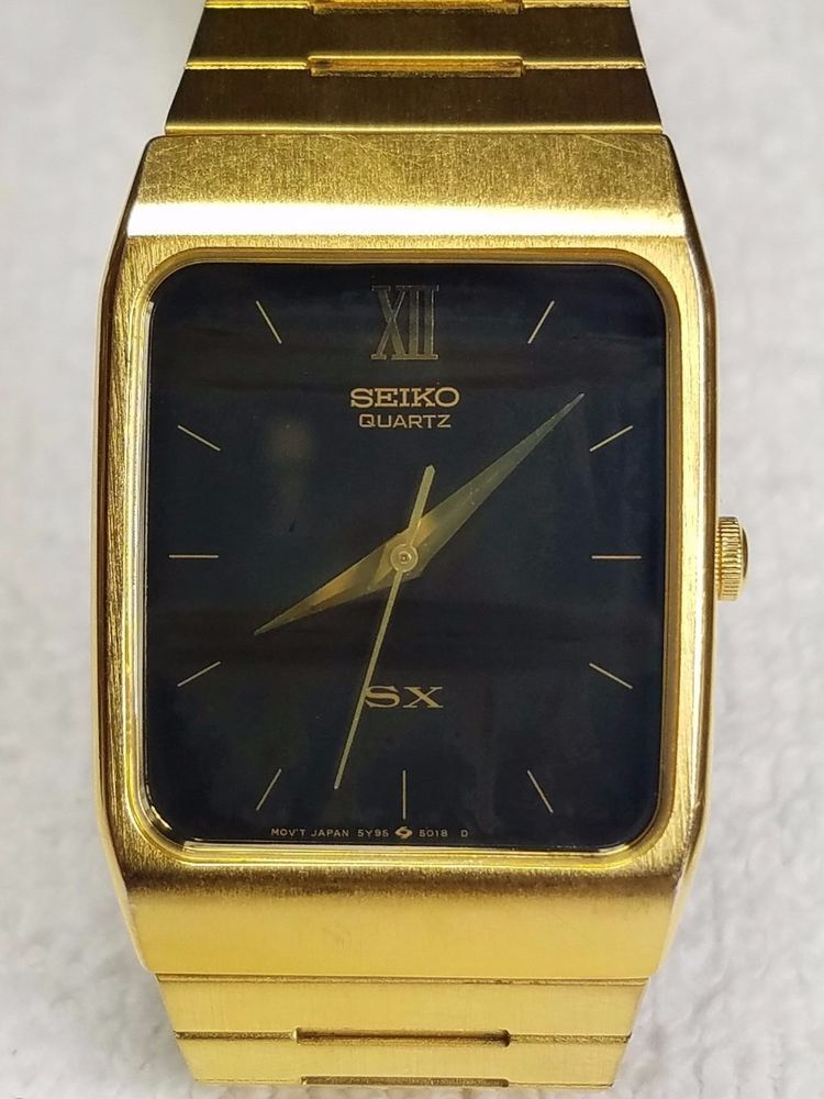 2b7e7a45e Seiko Men's Vintage SX Watch 5Y95-5000 Gold Toned Black Dial Rare #Seiko