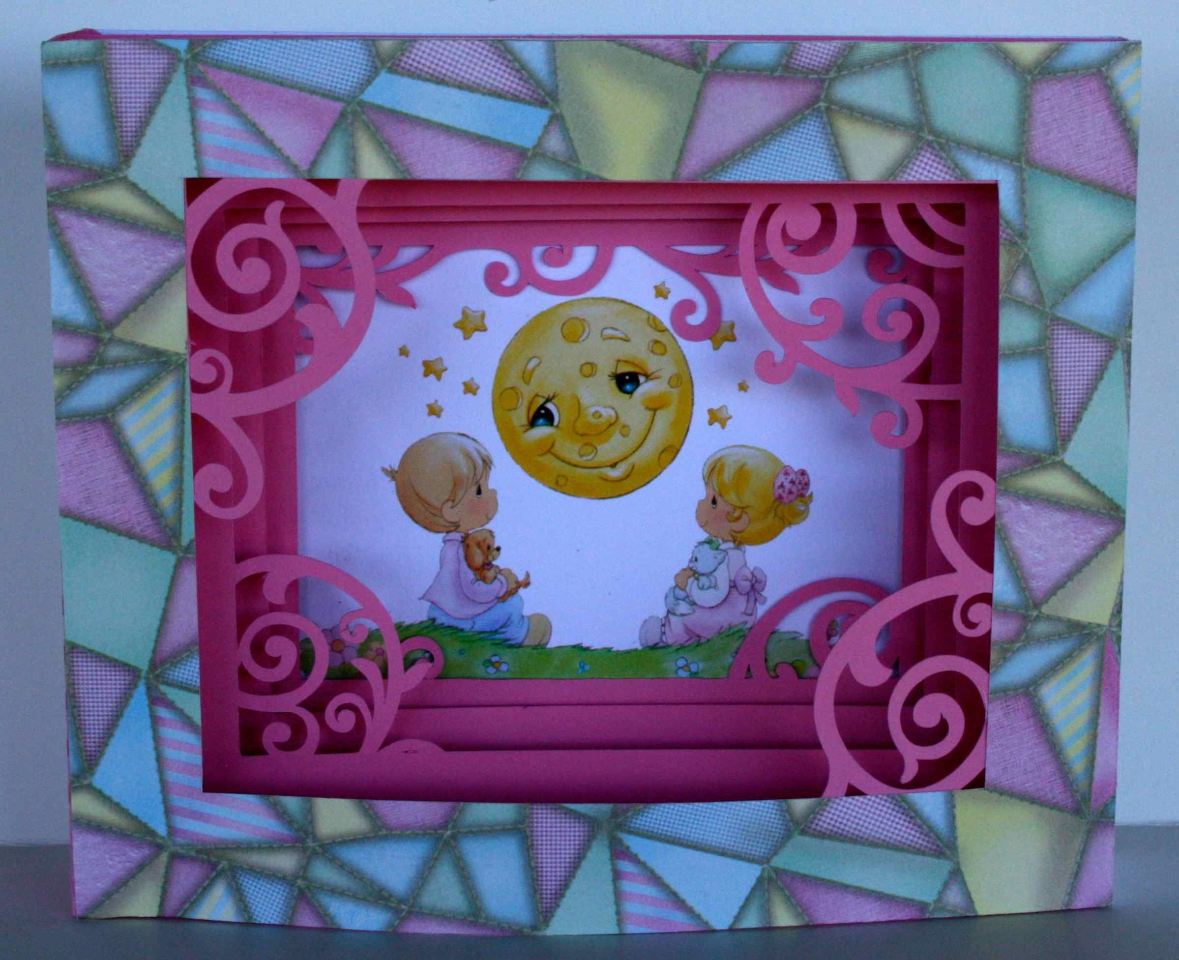 """Card I made using the Cameo """"5x7 mother shadow box card"""" cutting file. I cut off thee word """"Mother"""" from one of the layers."""
