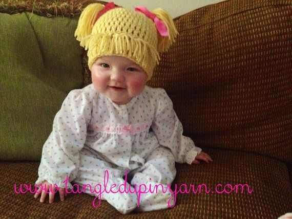 Toddler or Child Cabbage Patch Kid Hat with Pig Tails Choose your ...