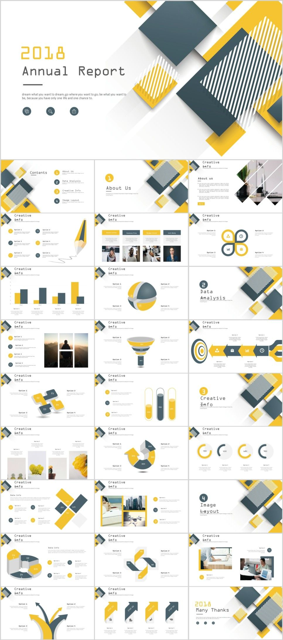 28 yellow business year plan powerpoint template パワポ