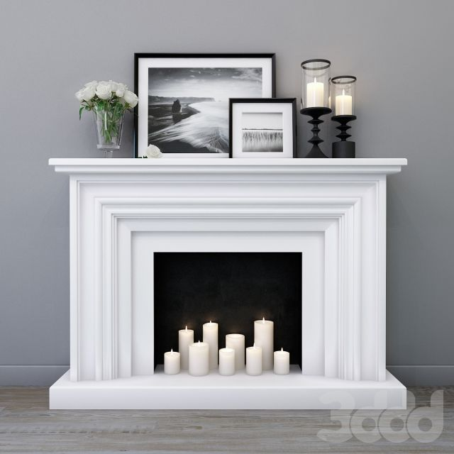 Photo of Custom Listing for Bernadette* Faux Fireplace and Mantle w/Delivery, Distressed White Wood Living Room Furniture, Condo & Small House Decor