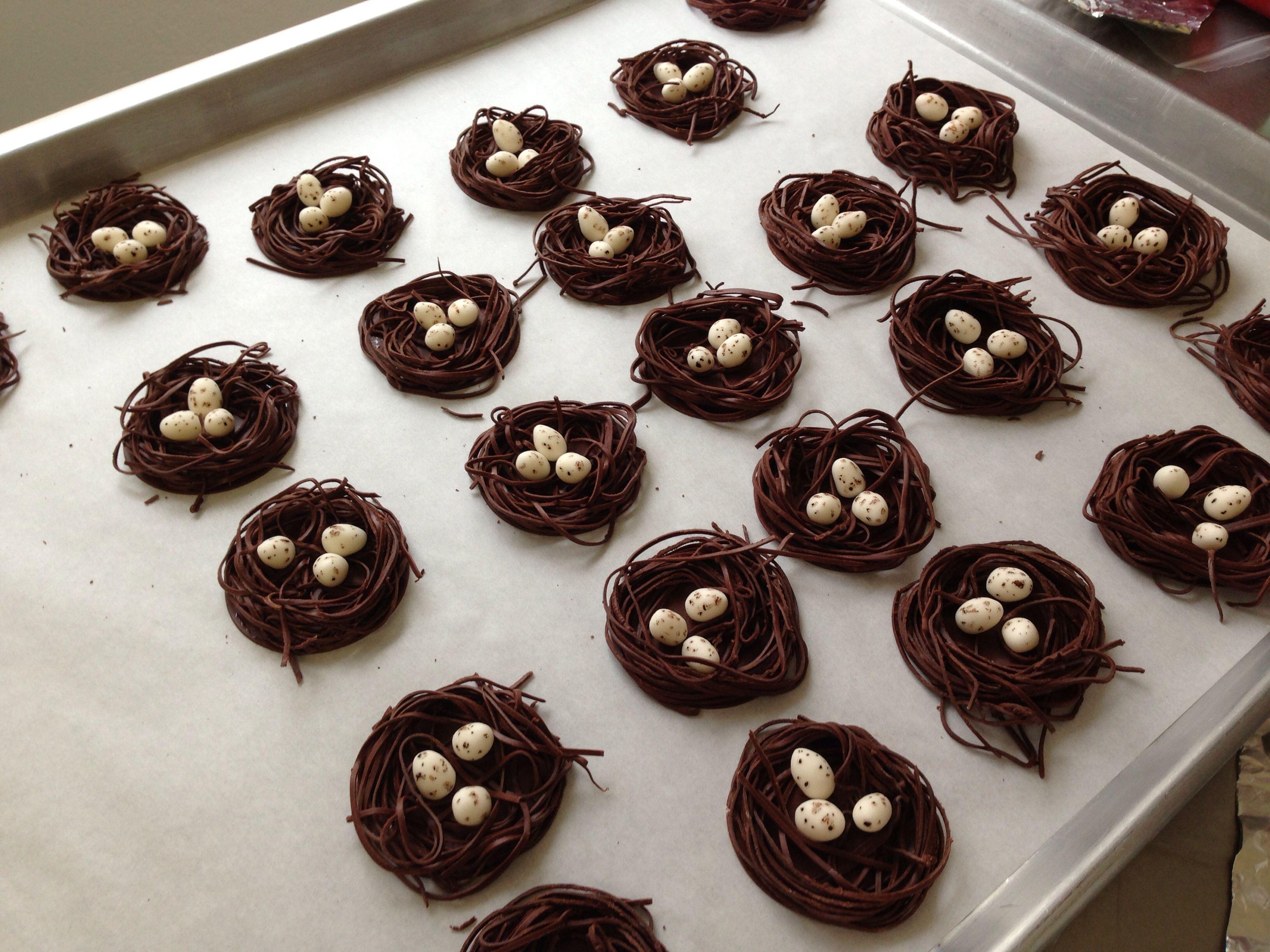 Modeling chocolate bird nests with fondant eggs | Cakes ...