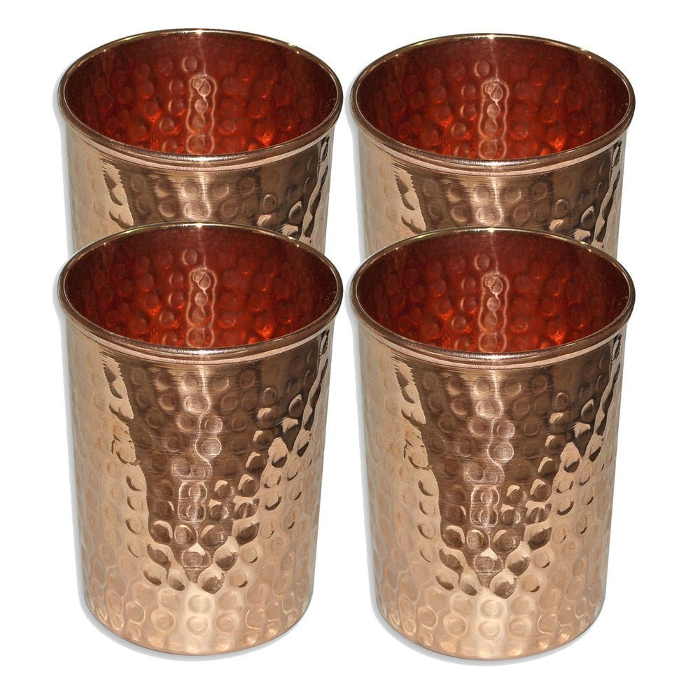 Copper Hammered Water Tumble Glasses for Healing Ayurvedic