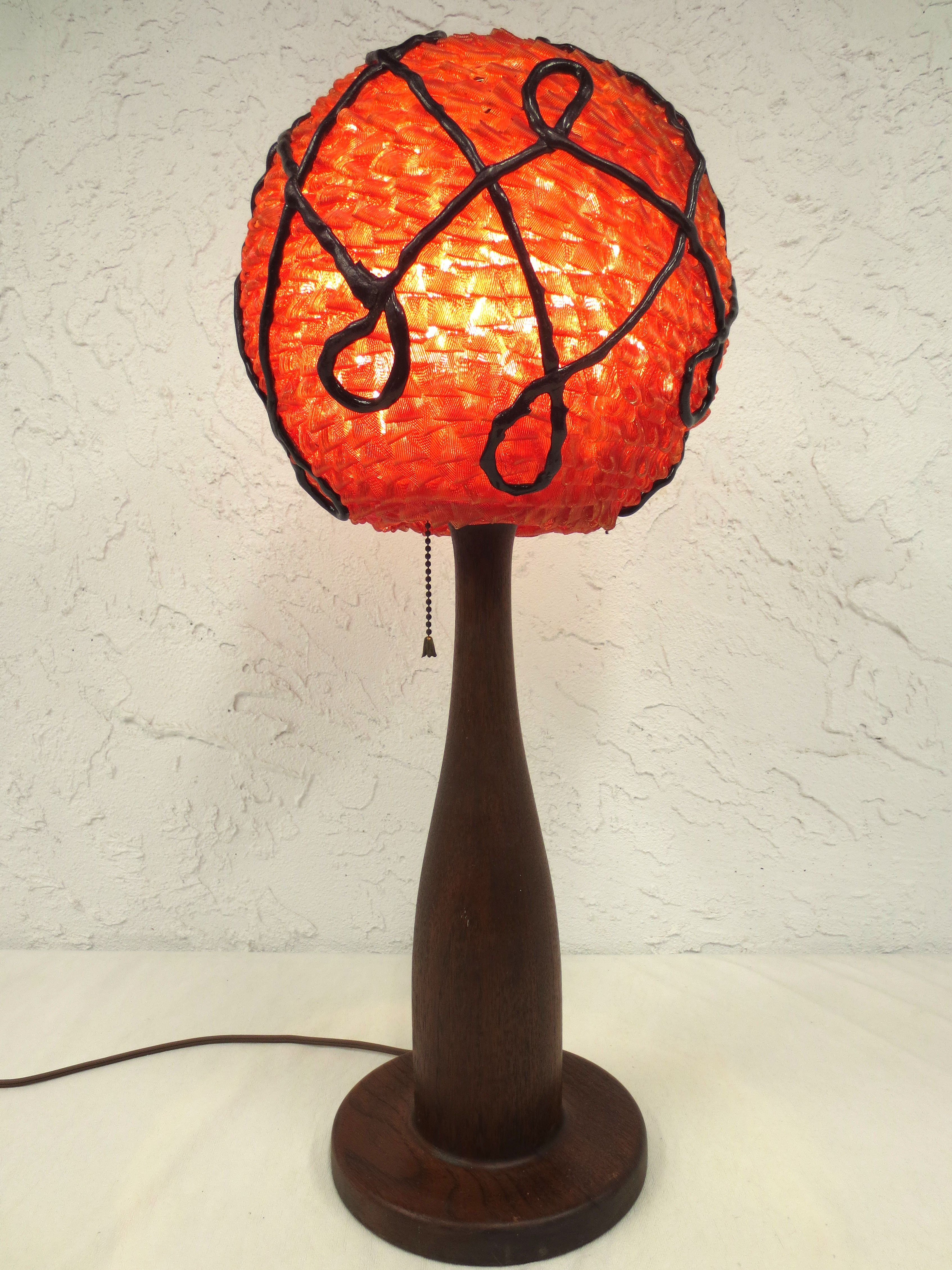 Vintage Mid Century Orange 24 Quot Lucite Wood Table Lamp Lucite Spaghetti Bowling Table Lamp