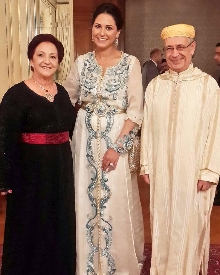 في ضيافة معالي سفير المغرب محمد سعد العلمي وحرمه السيدة زهرة اقصبي القاهرة مصر القفطان للمبدعة Meriembelkhaya Moroccan Dress Morrocan Dress Moroccan Fashion