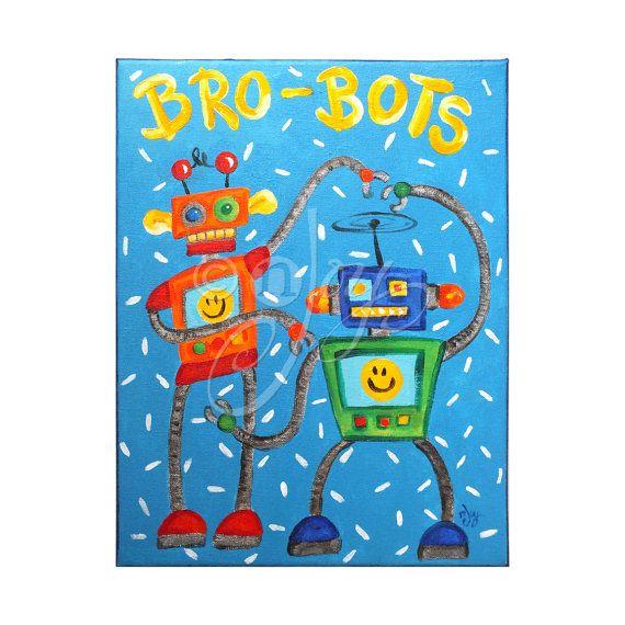 Art for Kids Brothers BROBOTS No.6 11x14 Canvas Robot by nJoyArt, $75.00