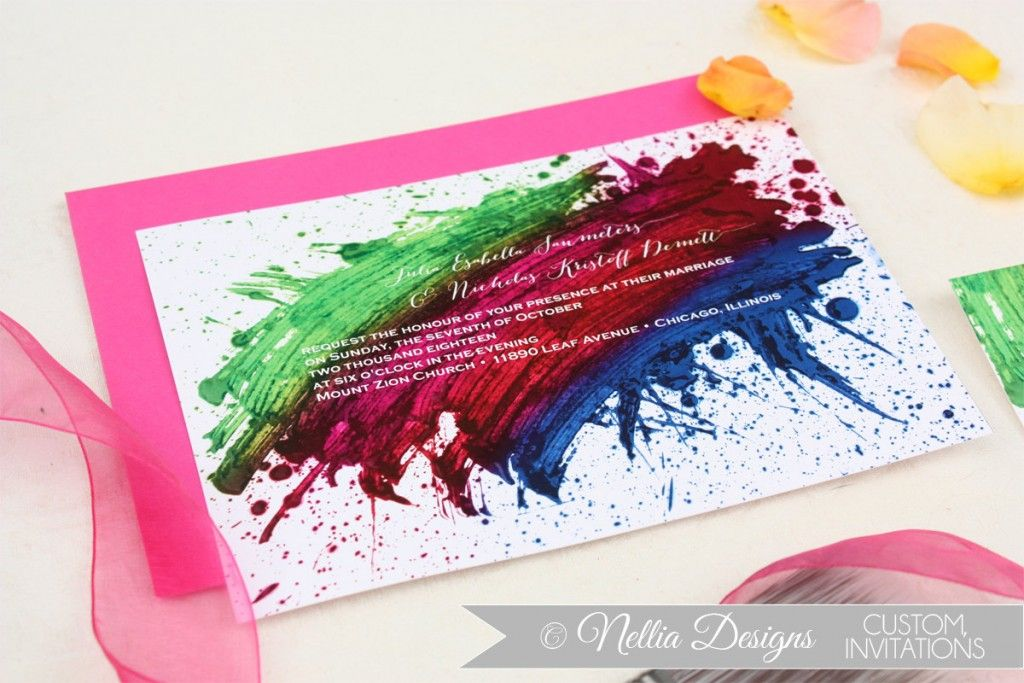 Once Upon A Rainbow Wedding Theme Invitations Stay At Home Mum