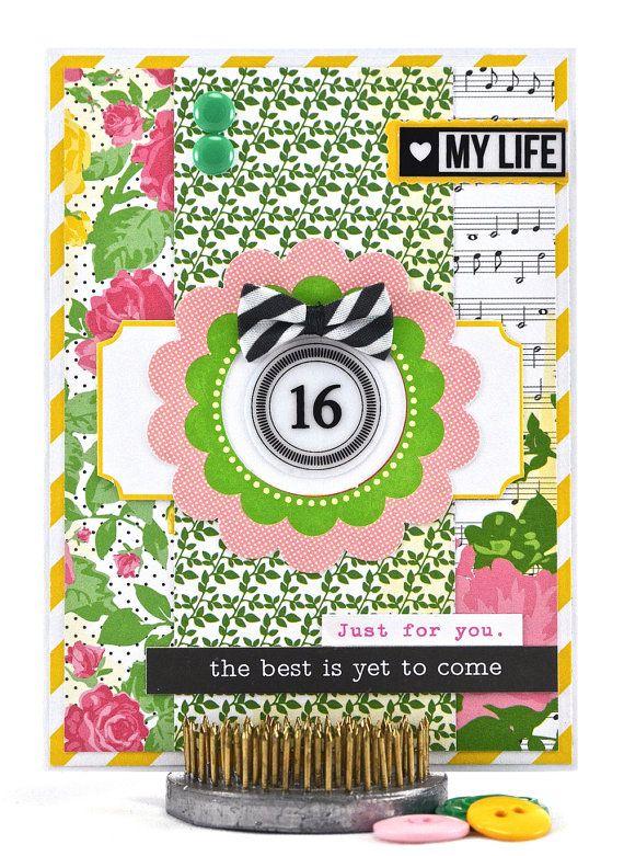 16th Birthday Card Sweet 16 Card Sixteenth Birthday Happy 16th