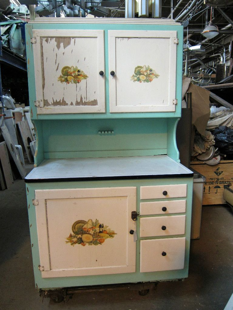 Wooden hoosier cabinet with original paint hoosier for Kitchen colors with white cabinets with yosemite sticker