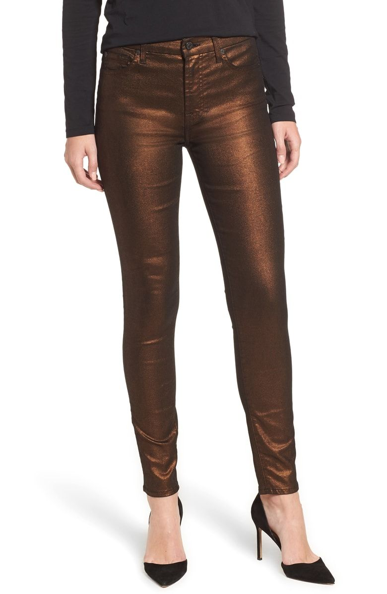 6337e2f59a0 Free shipping and returns on 7 For All Mankind® Metallic Ankle Skinny Jeans  at Nordstrom.com. Elongating mid-rise skinny jeans with a shimmery disco ...